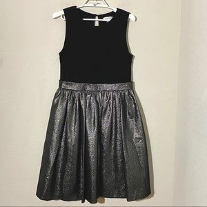Calvin Klein Fit Flare Party Dress Silver Black